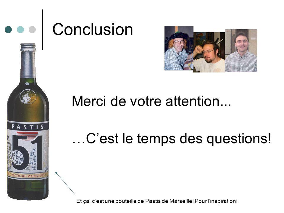 Conclusion Merci de votre attention... …Cest le temps des questions! Et ça, cest une bouteille de Pastis de Marseille! Pour linspiration!