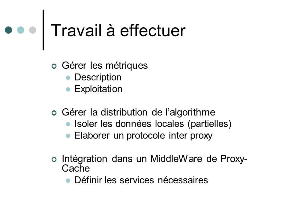 Gestion des métriques Besoin de Flexibilité : somme pondérée des mesures agrégées : Mesure de la route en fonction du réplica : Pondération de la Mesure i / réplica : Mesure de la Métrique i sur la route Technologie ouverte (XML) Définition de classes de réplica extensibles Mappage type-réplica/pondération