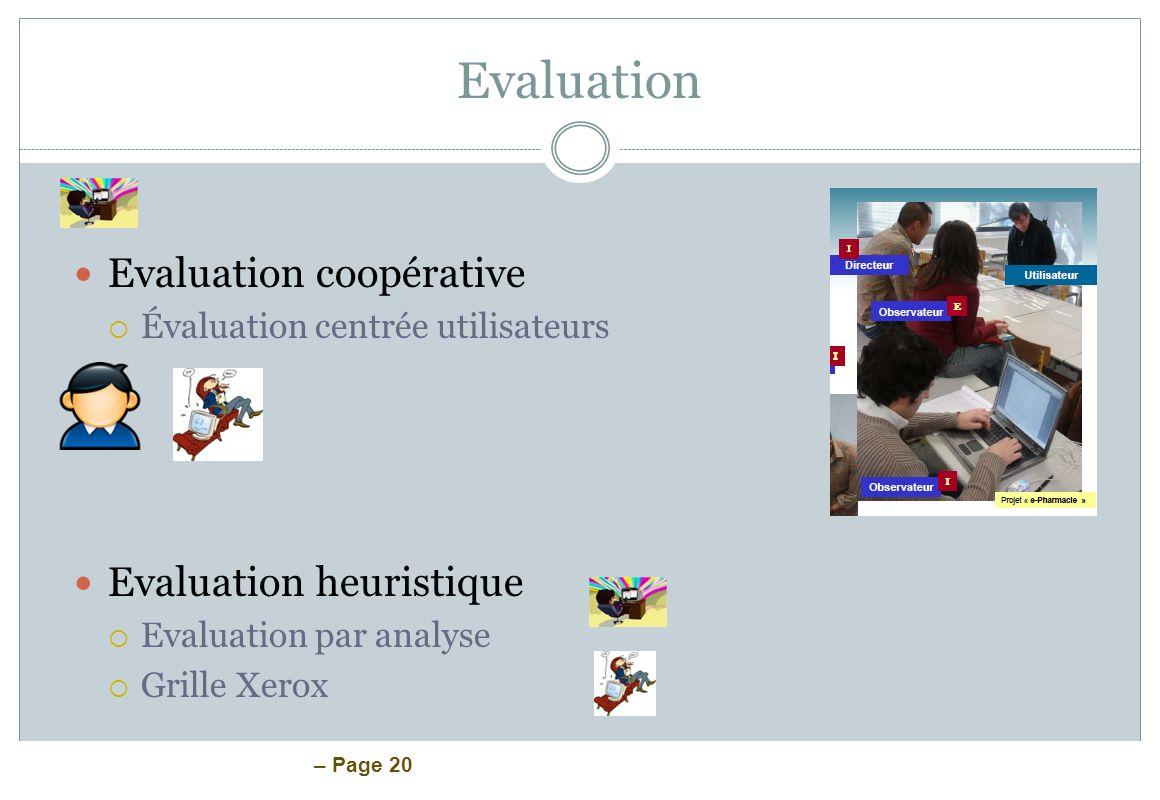 – Page 20 Evaluation Evaluation coopérative Évaluation centrée utilisateurs Evaluation heuristique Evaluation par analyse Grille Xerox