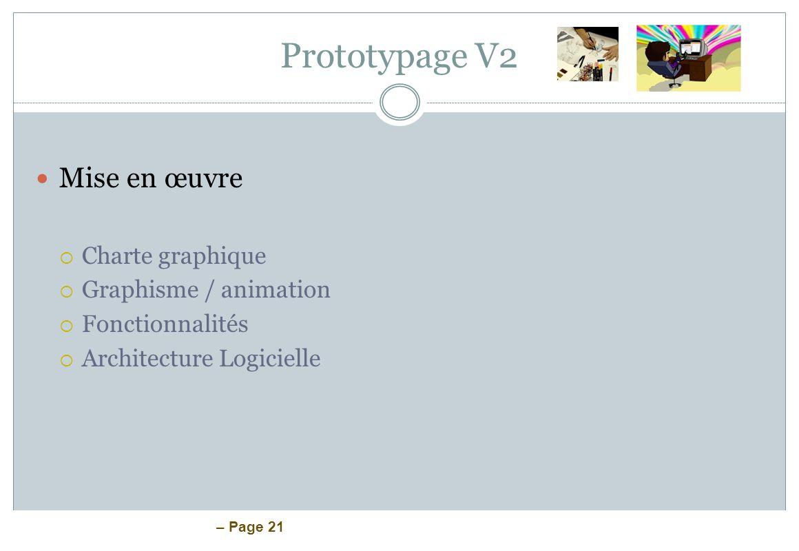 – Page 21 Prototypage V2 Mise en œuvre Charte graphique Graphisme / animation Fonctionnalités Architecture Logicielle
