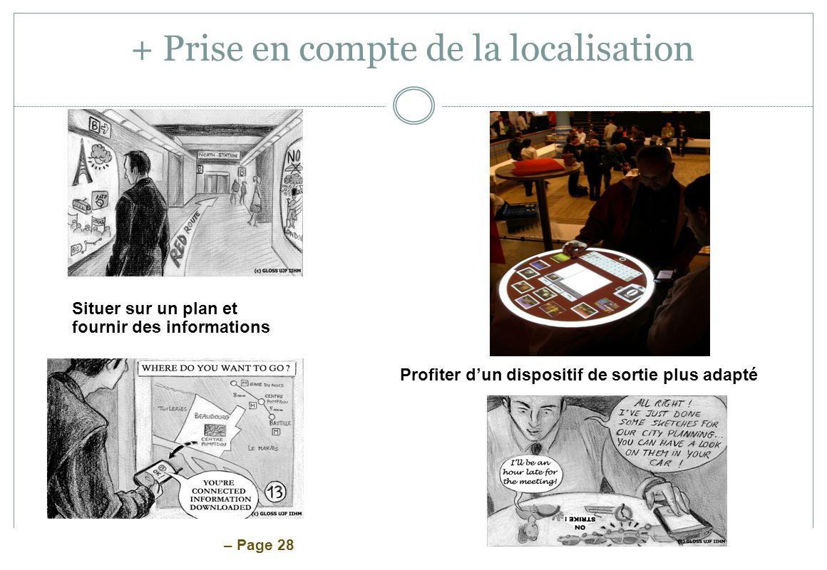 – Page 28 + Prise en compte de la localisation Profiter dun dispositif de sortie plus adapté Situer sur un plan et fournir des informations