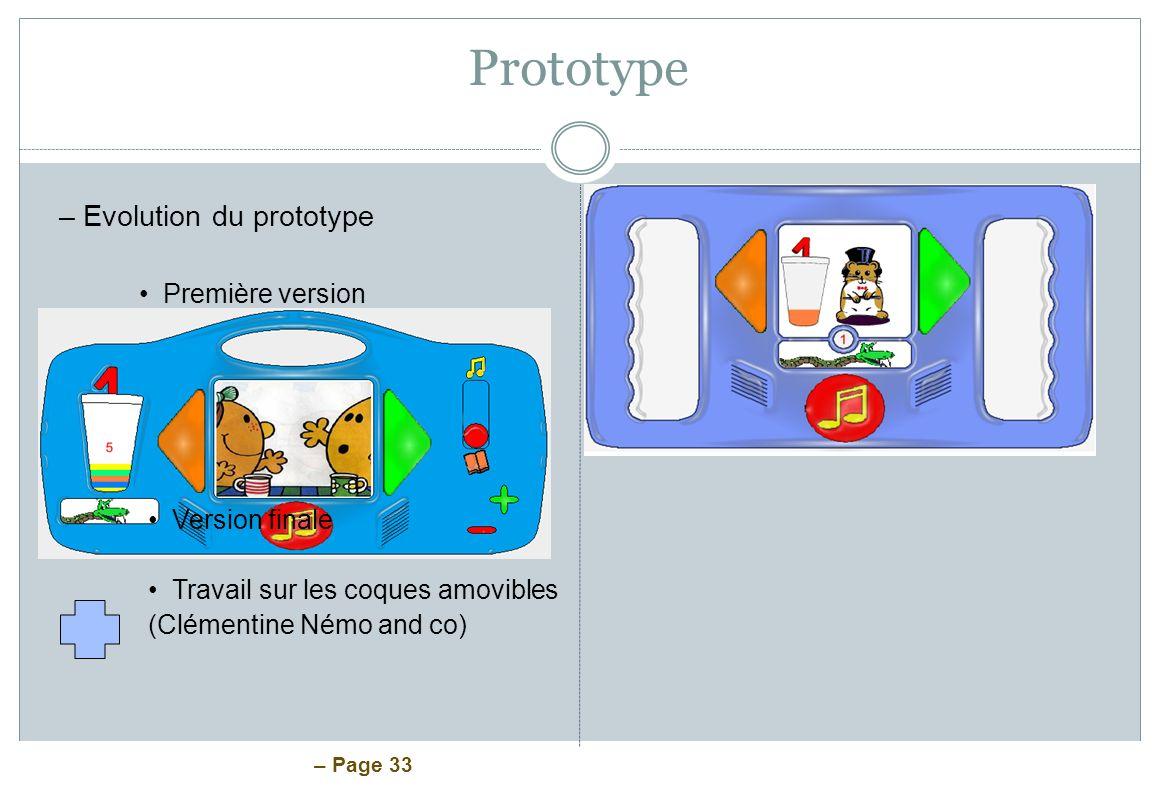 – Page 33 Prototype –Evolution du prototype Première version Version finale Travail sur les coques amovibles (Clémentine Némo and co)