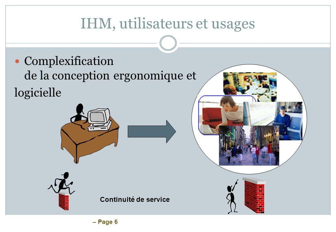 – Page 6 IHM, utilisateurs et usages Complexification de la conception ergonomique et logicielle Continuité de service