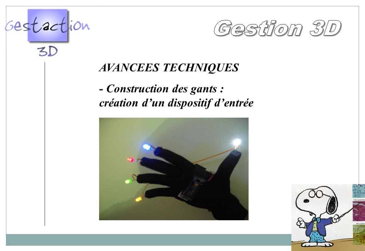 AVANCEES TECHNIQUES - Construction des gants : création dun dispositif dentrée