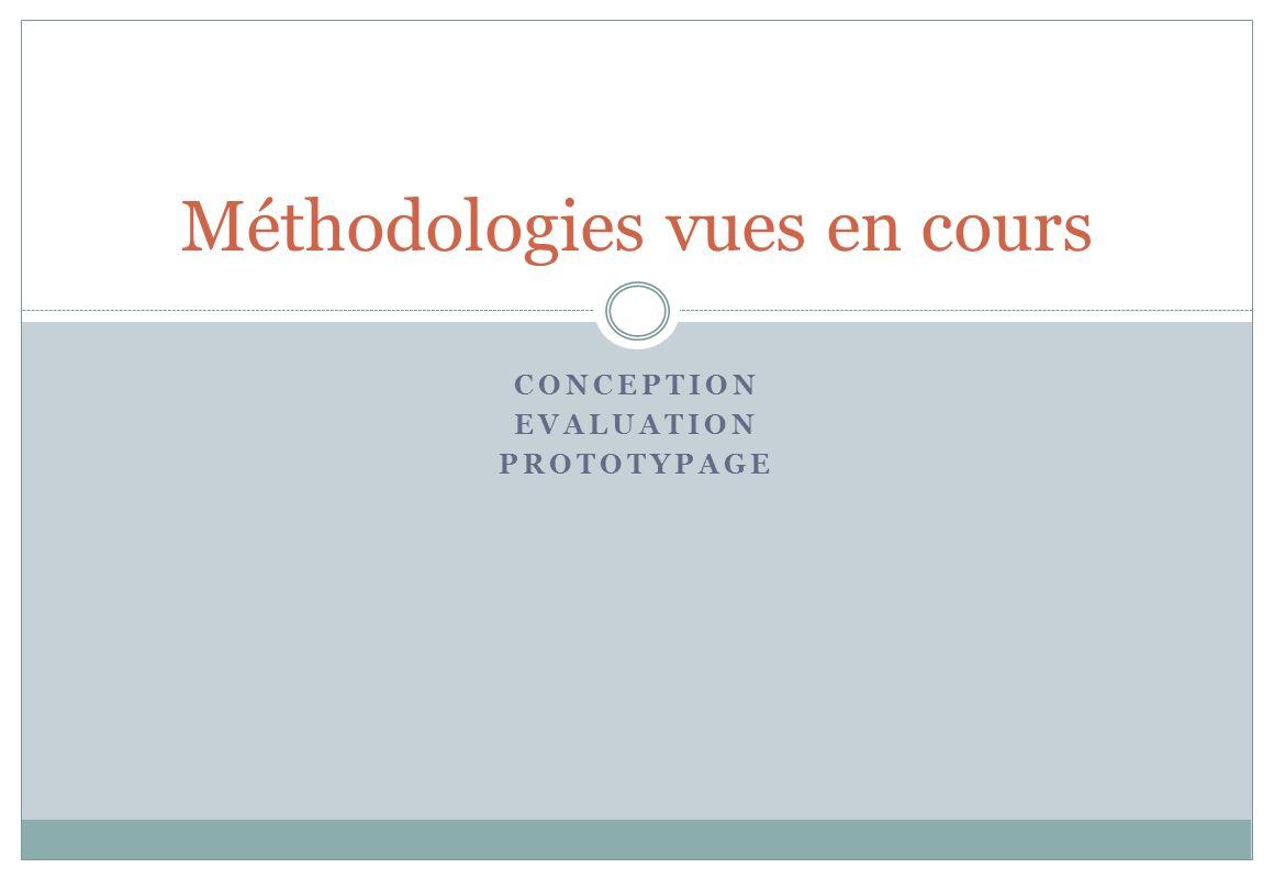 CONCEPTION EVALUATION PROTOTYPAGE Méthodologies vues en cours