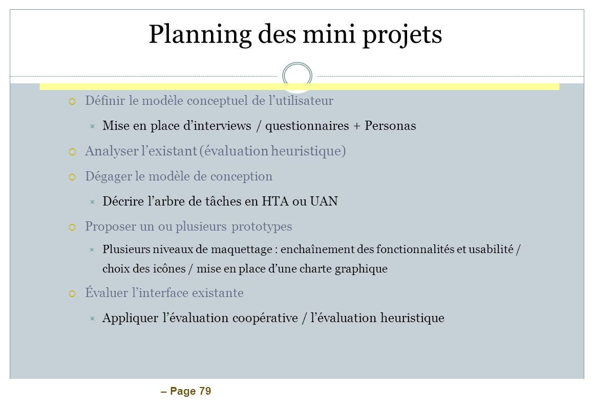 – Page 79 Planning des mini projets Définir le modèle conceptuel de lutilisateur Mise en place dinterviews / questionnaires + Personas Analyser lexist