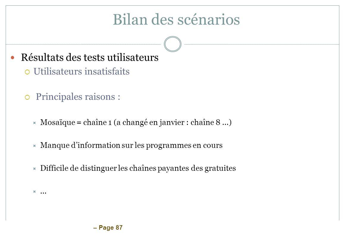 – Page 87 Bilan des scénarios Résultats des tests utilisateurs Utilisateurs insatisfaits Principales raisons : Mosaïque = chaîne 1 (a changé en janvie