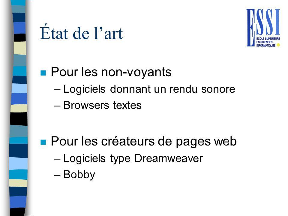 État de lart n Pour les non-voyants –Logiciels donnant un rendu sonore –Browsers textes n Pour les créateurs de pages web –Logiciels type Dreamweaver