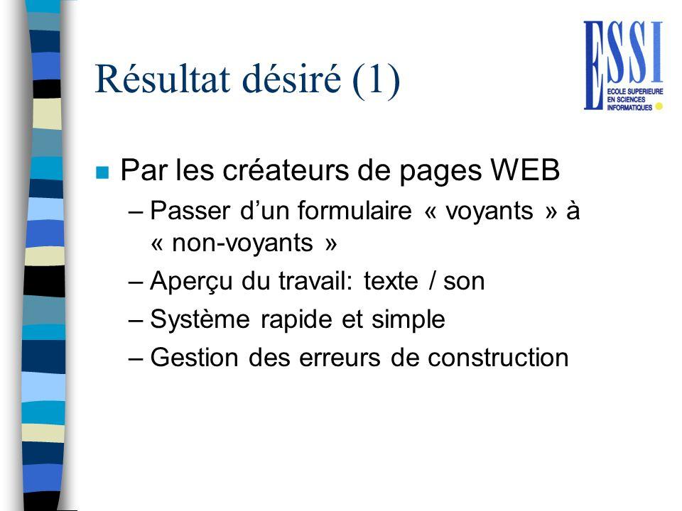 Résultat désiré (1) n Par les créateurs de pages WEB –Passer dun formulaire « voyants » à « non-voyants » –Aperçu du travail: texte / son –Système rap