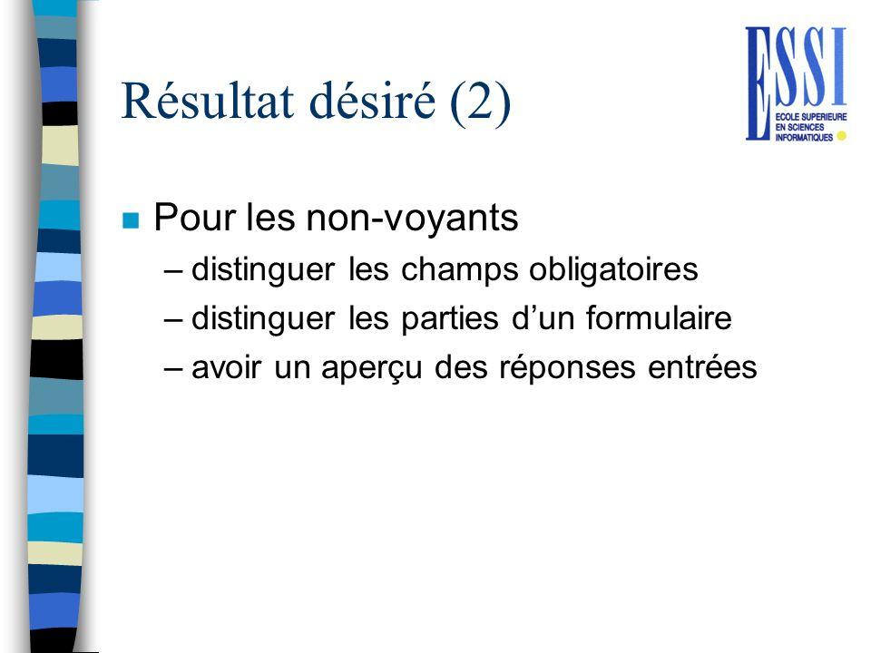 Résultat désiré (2) n Pour les non-voyants –distinguer les champs obligatoires –distinguer les parties dun formulaire –avoir un aperçu des réponses en