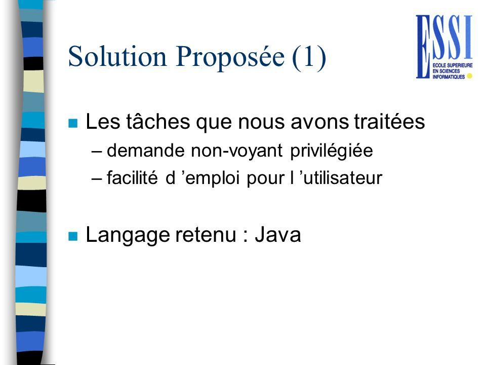 Solution Proposée (1) n Les tâches que nous avons traitées –demande non-voyant privilégiée –facilité d emploi pour l utilisateur n Langage retenu : Ja