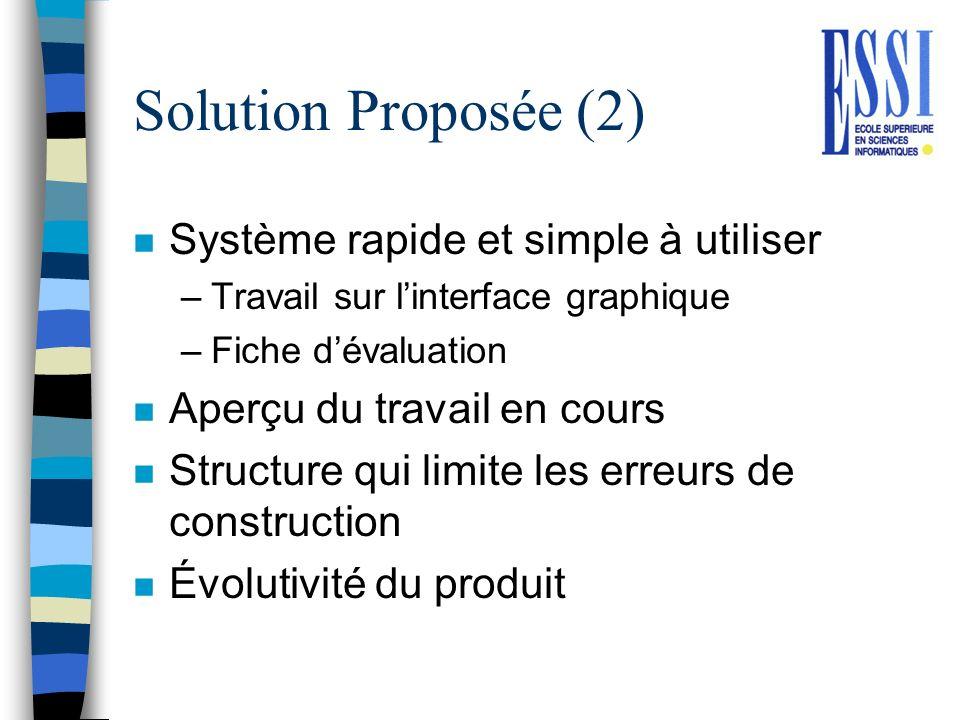 Solution Proposée (2) n Système rapide et simple à utiliser –Travail sur linterface graphique –Fiche dévaluation n Aperçu du travail en cours n Struct