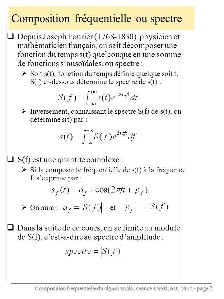 Composition fréquentielle du signal audio, séance 4 SSII, oct. 2012 - page 2 Composition fréquentielle ou spectre Depuis Joseph Fourier (1768-1830), p