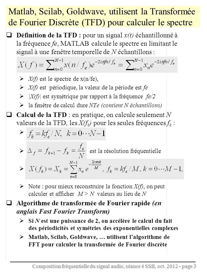 Composition fréquentielle du signal audio, séance 4 SSII, oct. 2012 - page 3 Matlab, Scilab, Goldwave, utilisent la Transformée de Fourier Discrète (T