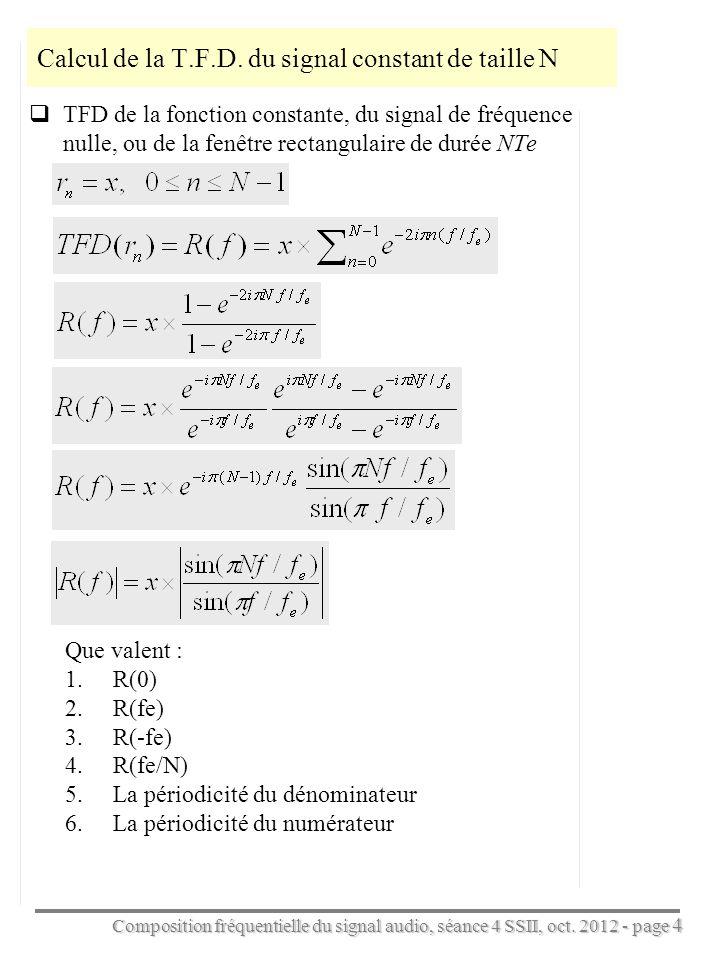 Composition fréquentielle du signal audio, séance 4 SSII, oct. 2012 - page 4 Calcul de la T.F.D. du signal constant de taille N TFD de la fonction con