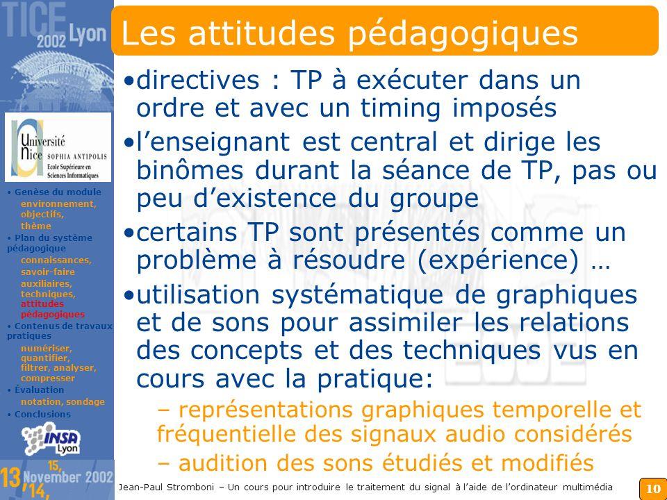 9 Jean-Paul Stromboni – Un cours pour introduire le traitement du signal à laide de lordinateur multimédia Les techniques pédagogiques Cours magistrau
