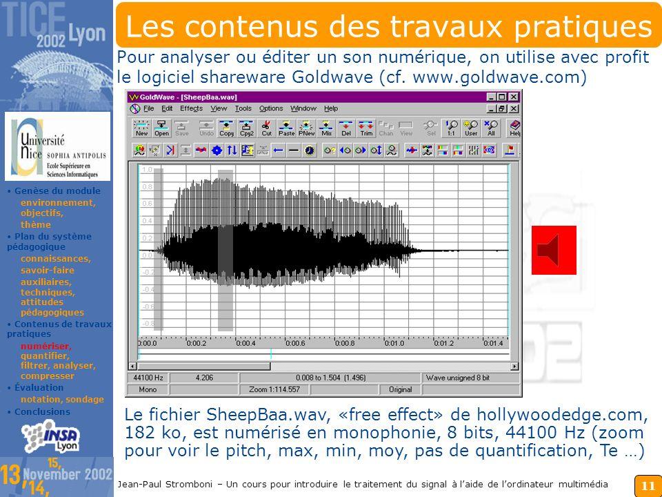 10 Jean-Paul Stromboni – Un cours pour introduire le traitement du signal à laide de lordinateur multimédia Les attitudes pédagogiques directives : TP
