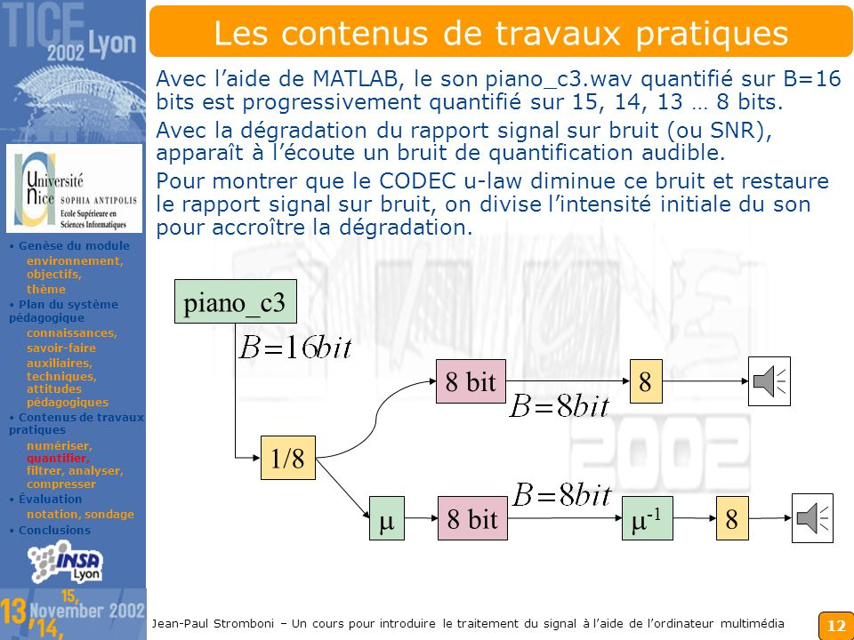 11 Jean-Paul Stromboni – Un cours pour introduire le traitement du signal à laide de lordinateur multimédia Les contenus des travaux pratiques Pour an