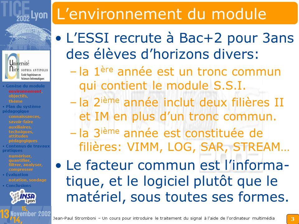 2 Jean-Paul Stromboni – Un cours pour introduire le traitement du signal à laide de lordinateur multimédia Sommaire La genèse du module S.S.I. environ