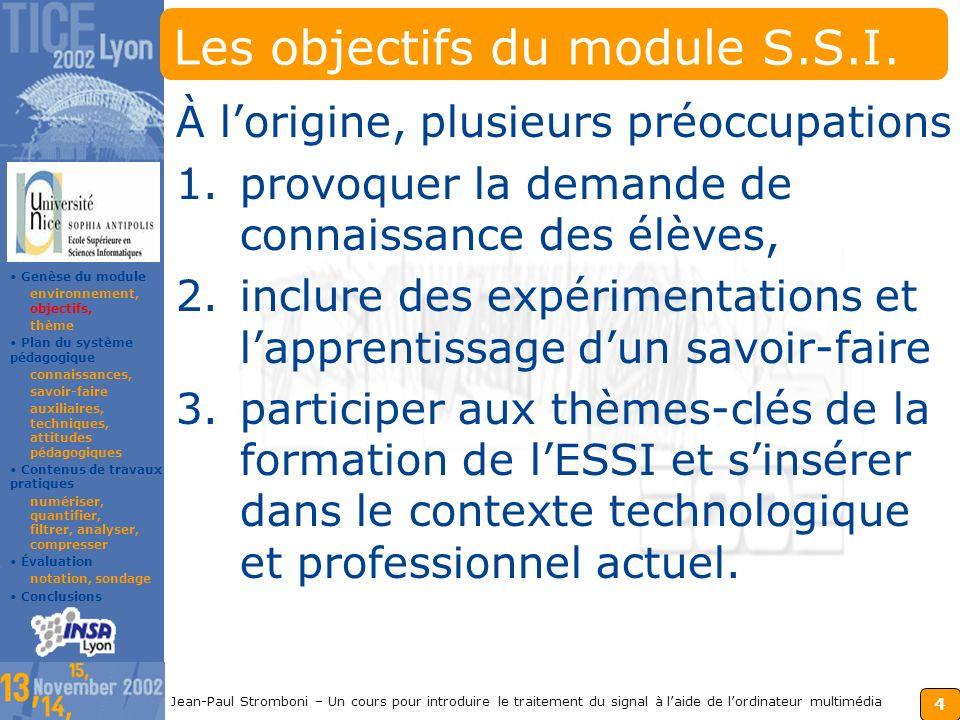 3 Jean-Paul Stromboni – Un cours pour introduire le traitement du signal à laide de lordinateur multimédia Lenvironnement du module LESSI recrute à Ba
