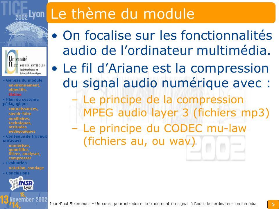 4 Jean-Paul Stromboni – Un cours pour introduire le traitement du signal à laide de lordinateur multimédia Les objectifs du module S.S.I. À lorigine,