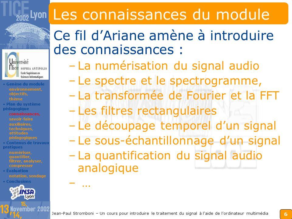 5 Jean-Paul Stromboni – Un cours pour introduire le traitement du signal à laide de lordinateur multimédia Le thème du module On focalise sur les fonc