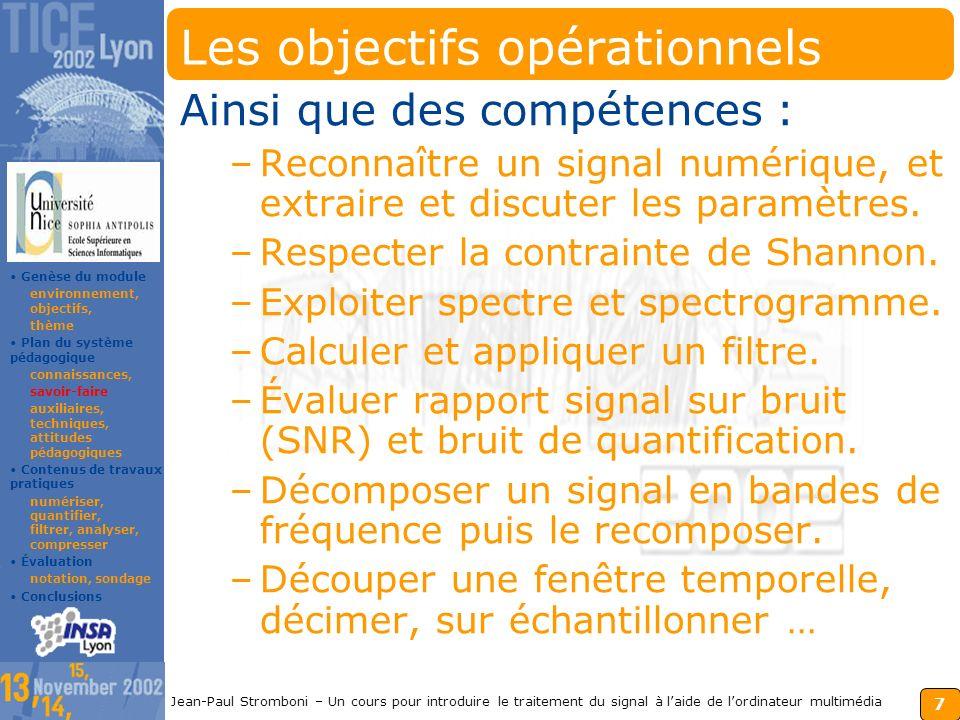 6 Jean-Paul Stromboni – Un cours pour introduire le traitement du signal à laide de lordinateur multimédia Les connaissances du module Ce fil dAriane