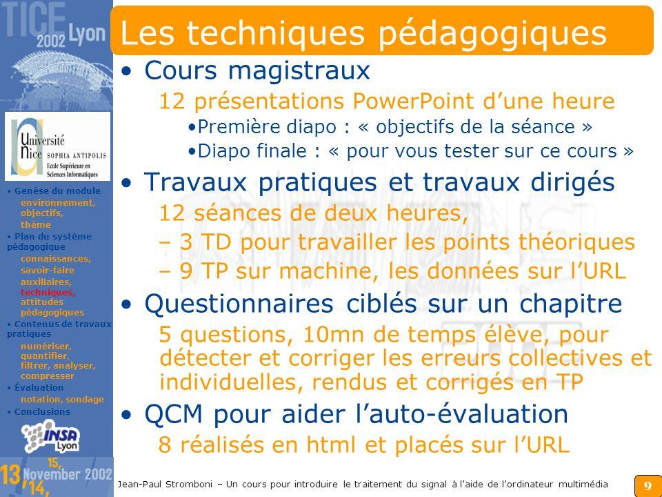 8 Jean-Paul Stromboni – Un cours pour introduire le traitement du signal à laide de lordinateur multimédia Les auxiliaires pédagogiques Le module S.S.