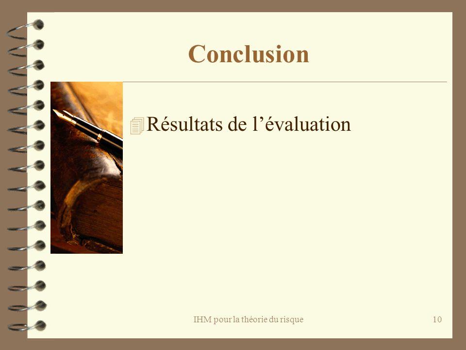 IHM pour la théorie du risque10 Conclusion 4 Résultats de lévaluation
