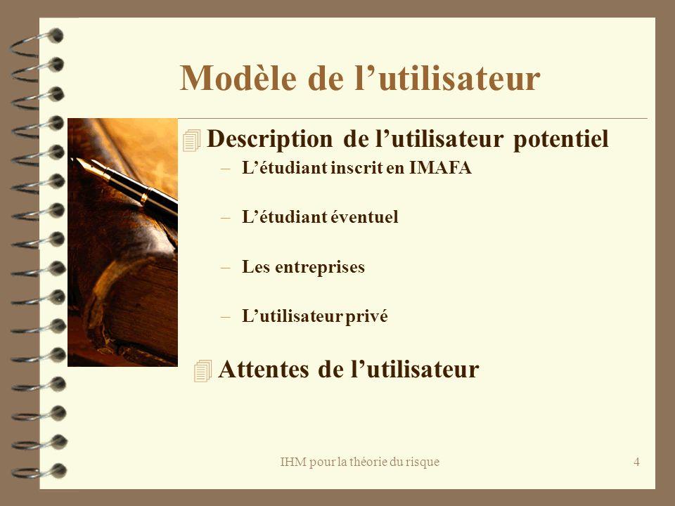 IHM pour la théorie du risque4 Modèle de lutilisateur 4 Description de lutilisateur potentiel –Létudiant inscrit en IMAFA –Létudiant éventuel –Les ent
