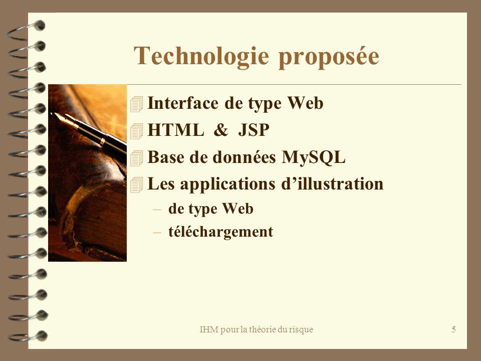IHM pour la théorie du risque5 Technologie proposée 4 Interface de type Web 4 HTML & JSP 4 Base de données MySQL 4 Les applications dillustration –de