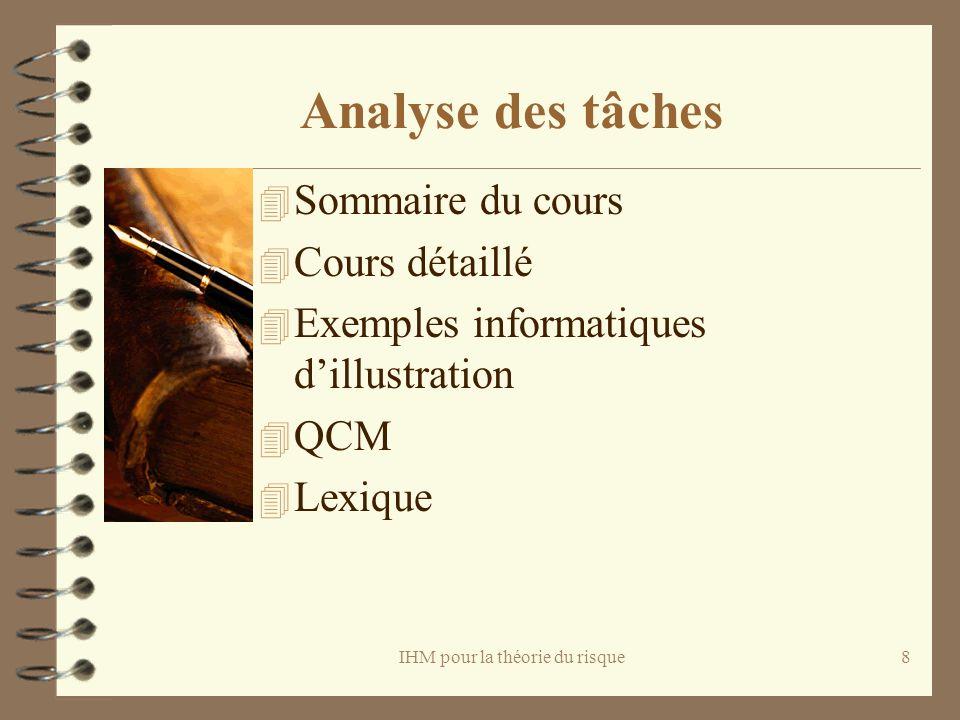 IHM pour la théorie du risque8 Analyse des tâches 4 Sommaire du cours 4 Cours détaillé 4 Exemples informatiques dillustration 4 QCM 4 Lexique