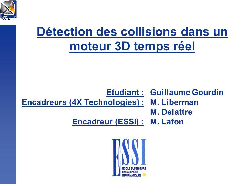 Détection des collisions dans un moteur 3D temps réel Etudiant : Encadreurs (4X Technologies) : Encadreur (ESSI) : Guillaume Gourdin M. Liberman M. De