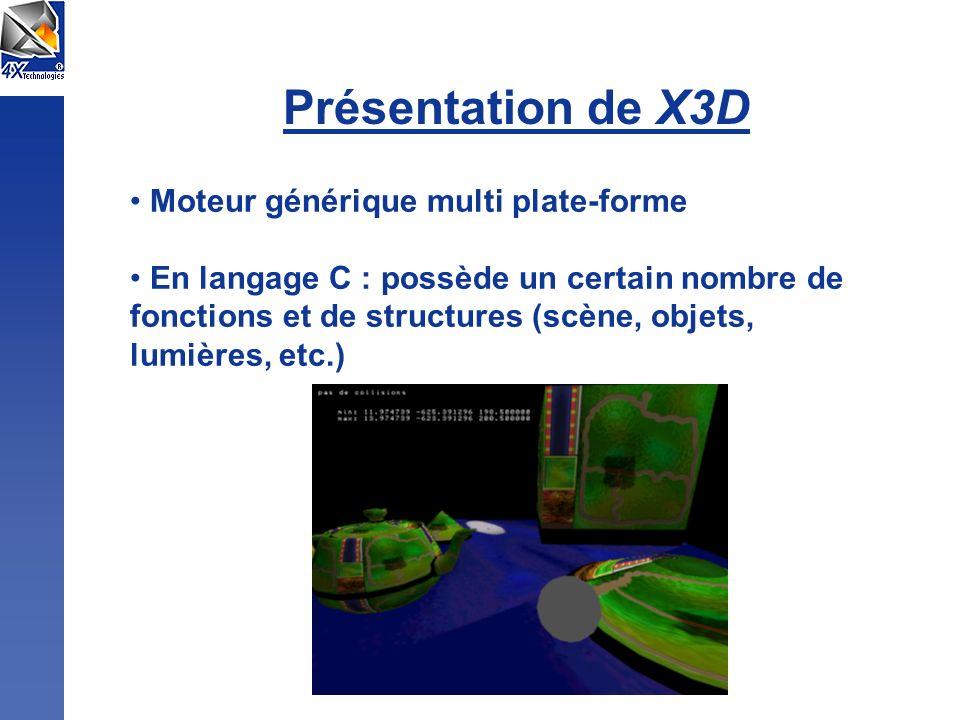 Présentation de X3D Moteur générique multi plate-forme En langage C : possède un certain nombre de fonctions et de structures (scène, objets, lumières