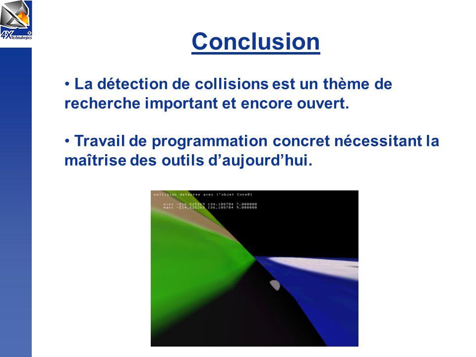 Conclusion La détection de collisions est un thème de recherche important et encore ouvert. Travail de programmation concret nécessitant la maîtrise d
