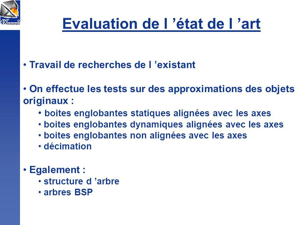 Evaluation de l état de l art Travail de recherches de l existant On effectue les tests sur des approximations des objets originaux : boites englobant
