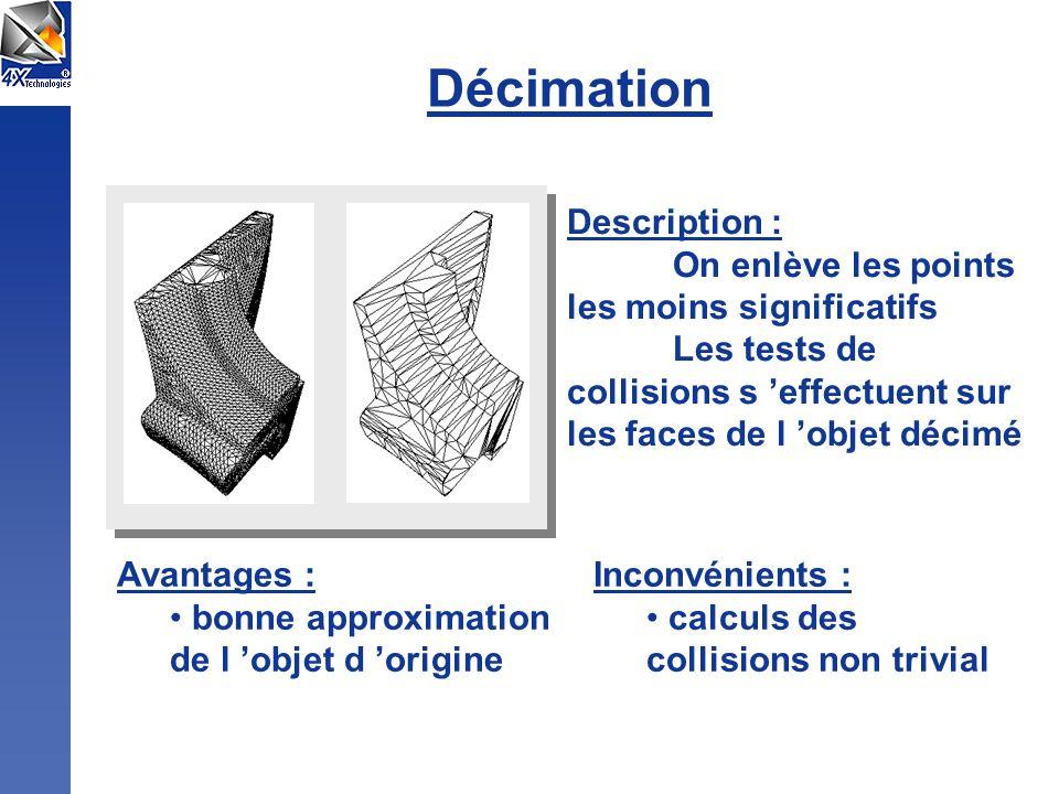 Décimation Description : On enlève les points les moins significatifs Les tests de collisions s effectuent sur les faces de l objet décimé Avantages : bonne approximation de l objet d origine Inconvénients : calculs des collisions non trivial