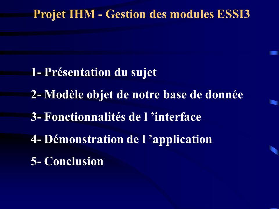 Projet IHM - Gestion des modules ESSI3 1- Présentation du sujet 2- Modèle objet de notre base de donnée 3- Fonctionnalités de l interface 4- Démonstration de l application 5- Conclusion