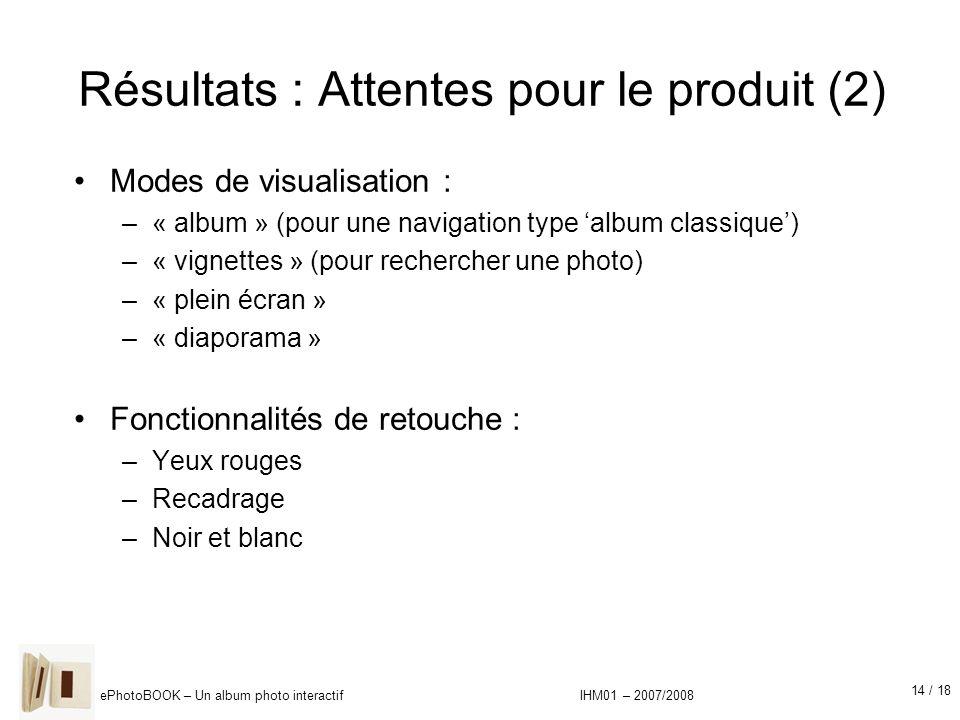 14 / 18 ePhotoBOOK – Un album photo interactif IHM01 – 2007/2008 Résultats : Attentes pour le produit (2) Modes de visualisation : –« album » (pour un