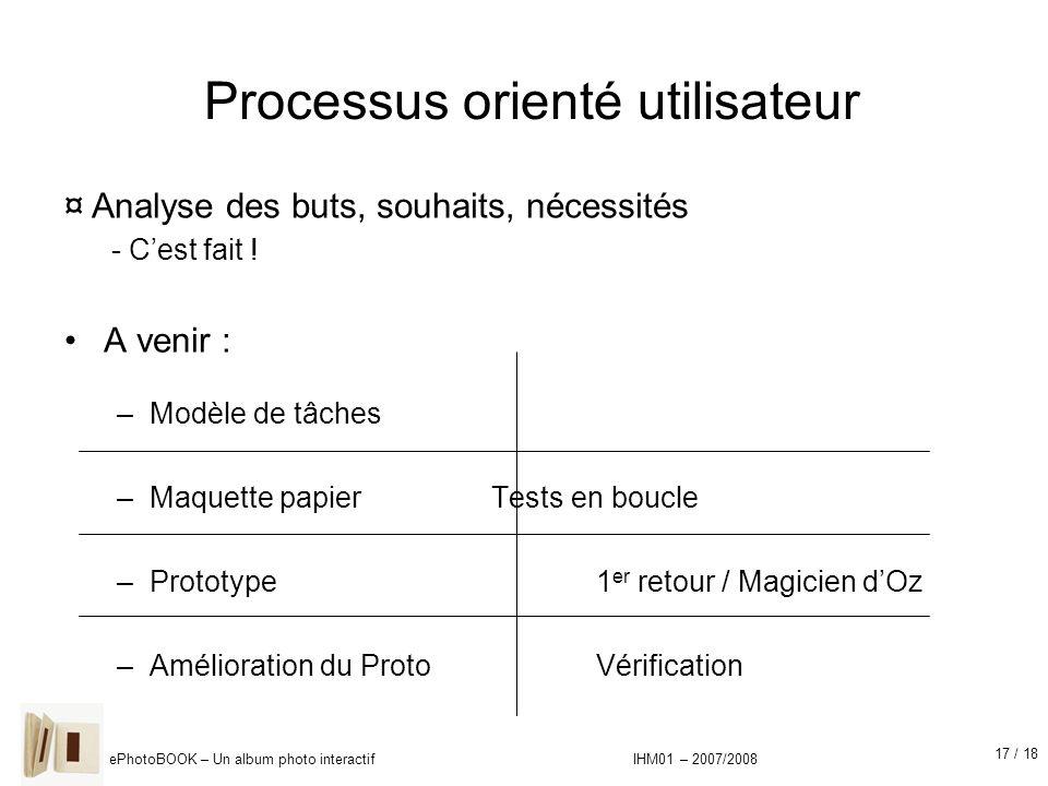 17 / 18 ePhotoBOOK – Un album photo interactif IHM01 – 2007/2008 Processus orienté utilisateur A venir : –Modèle de tâches –Maquette papier Tests en b