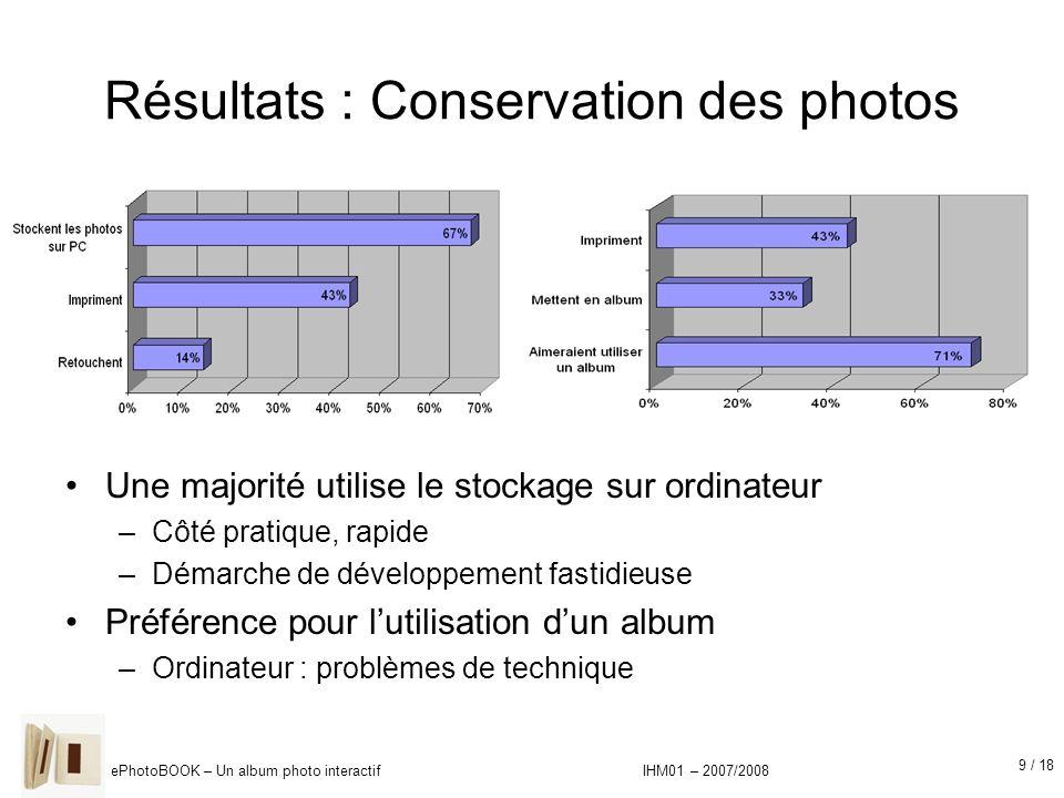 9 / 18 ePhotoBOOK – Un album photo interactif IHM01 – 2007/2008 Résultats : Conservation des photos Une majorité utilise le stockage sur ordinateur –C