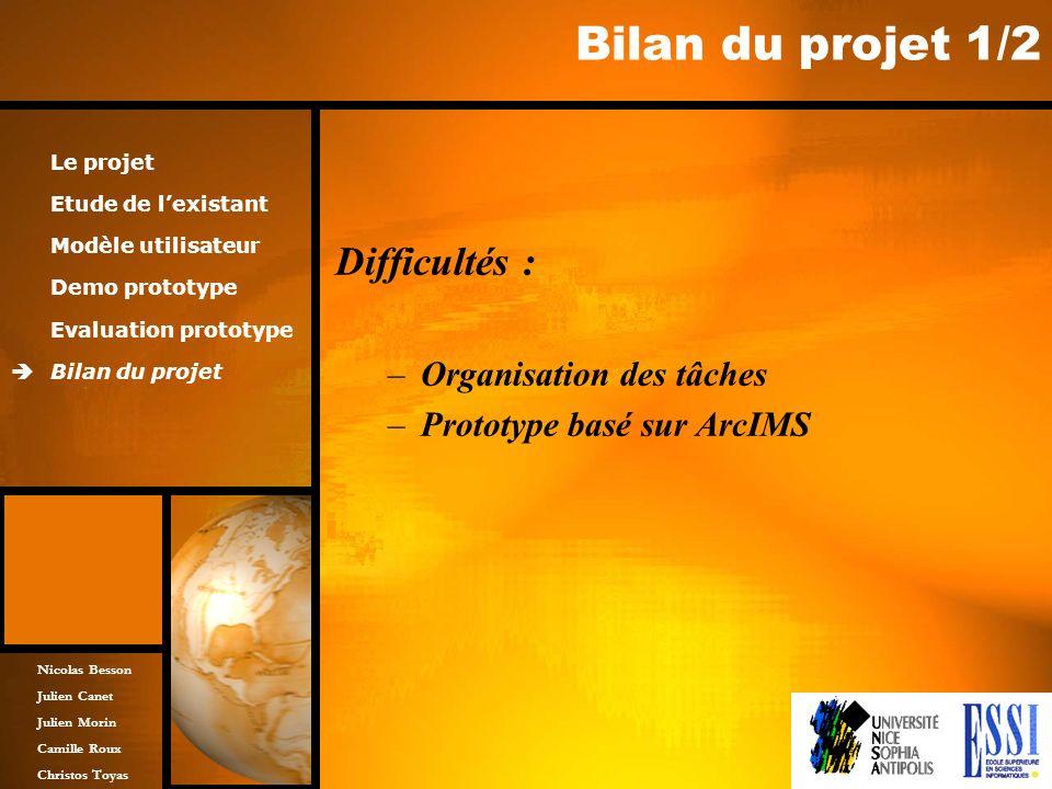Nicolas Besson Julien Canet Julien Morin Camille Roux Christos Toyas Bilan du projet 1/2 Difficultés : –Organisation des tâches –Prototype basé sur Ar