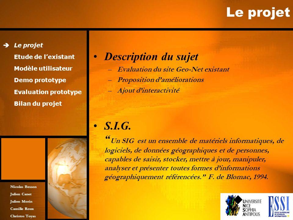 Nicolas Besson Julien Canet Julien Morin Camille Roux Christos Toyas Le projet Description du sujet –Evaluation du site Geo-Net existant –Proposition