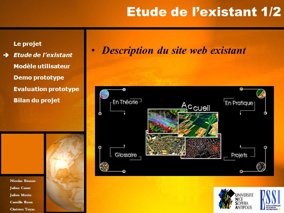 Nicolas Besson Julien Canet Julien Morin Camille Roux Christos Toyas Etude de lexistant 1/2 Description du site web existant Le projet Etude de lexist