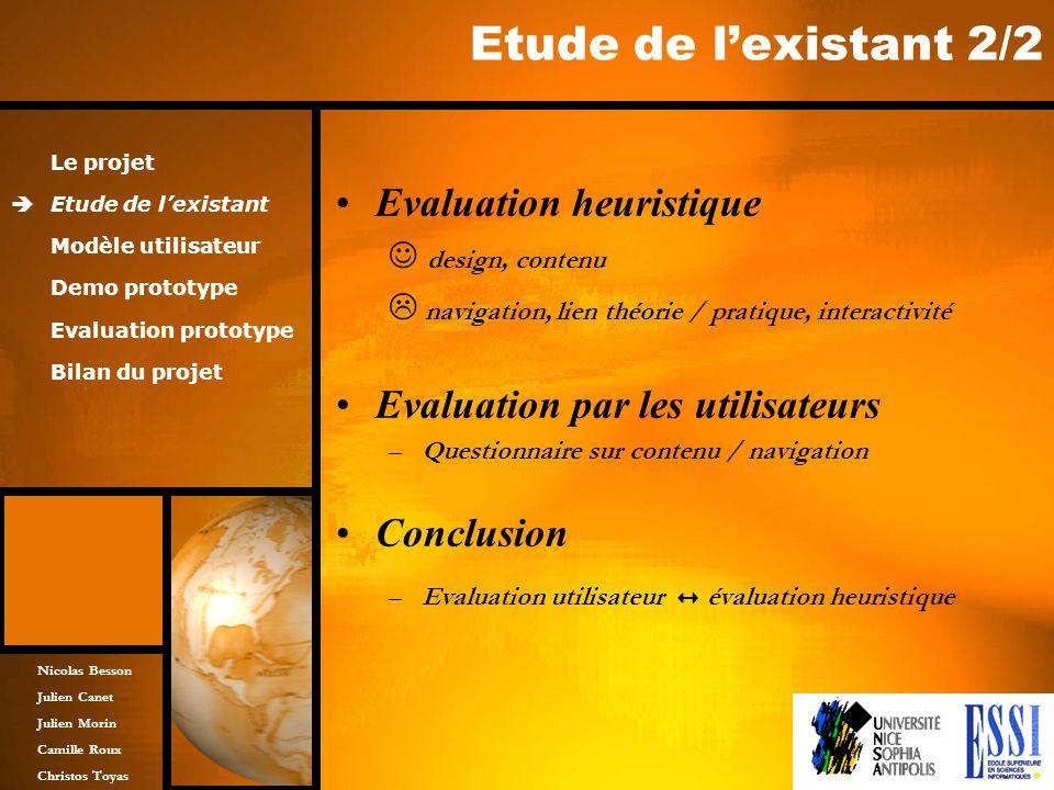 Nicolas Besson Julien Canet Julien Morin Camille Roux Christos Toyas Etude de lexistant 2/2 Evaluation heuristique design, contenu navigation, lien th