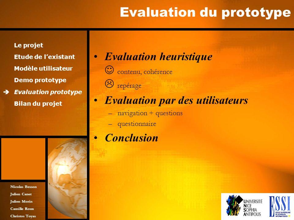 Nicolas Besson Julien Canet Julien Morin Camille Roux Christos Toyas Evaluation du prototype Evaluation heuristique contenu, cohérence repérage Evalua