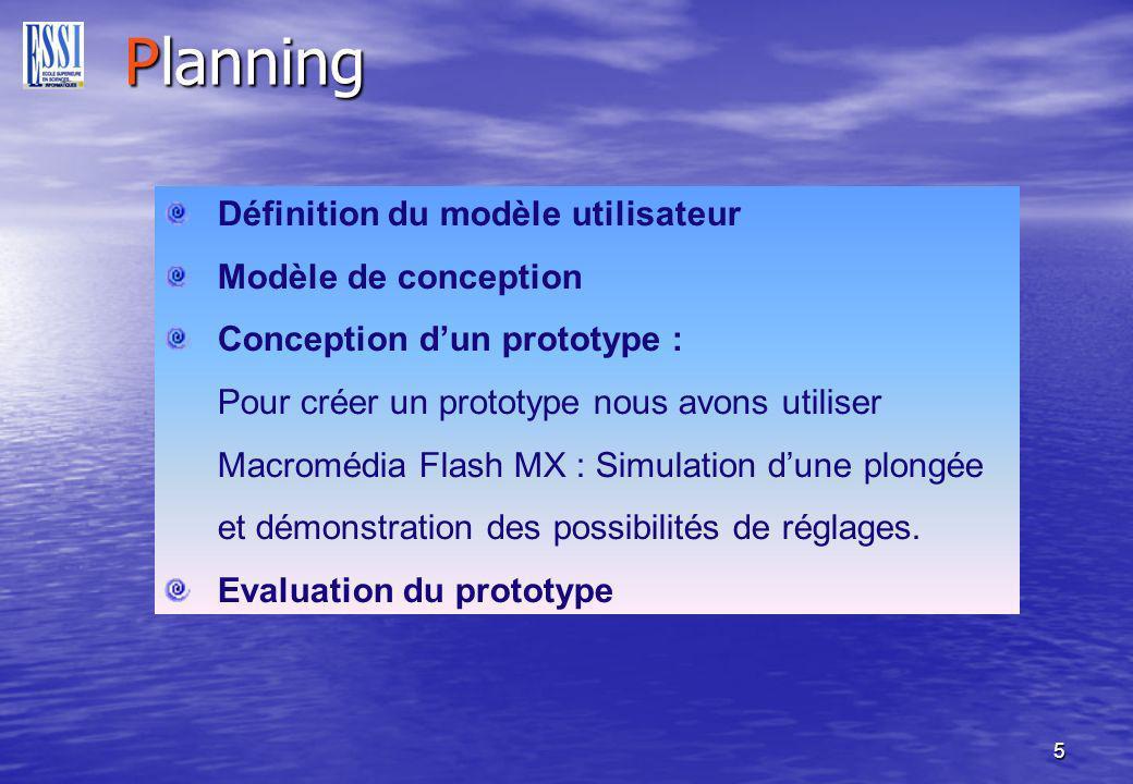 5 Planning Définition du modèle utilisateur Modèle de conception Conception dun prototype : Pour créer un prototype nous avons utiliser Macromédia Flash MX : Simulation dune plongée et démonstration des possibilités de réglages.