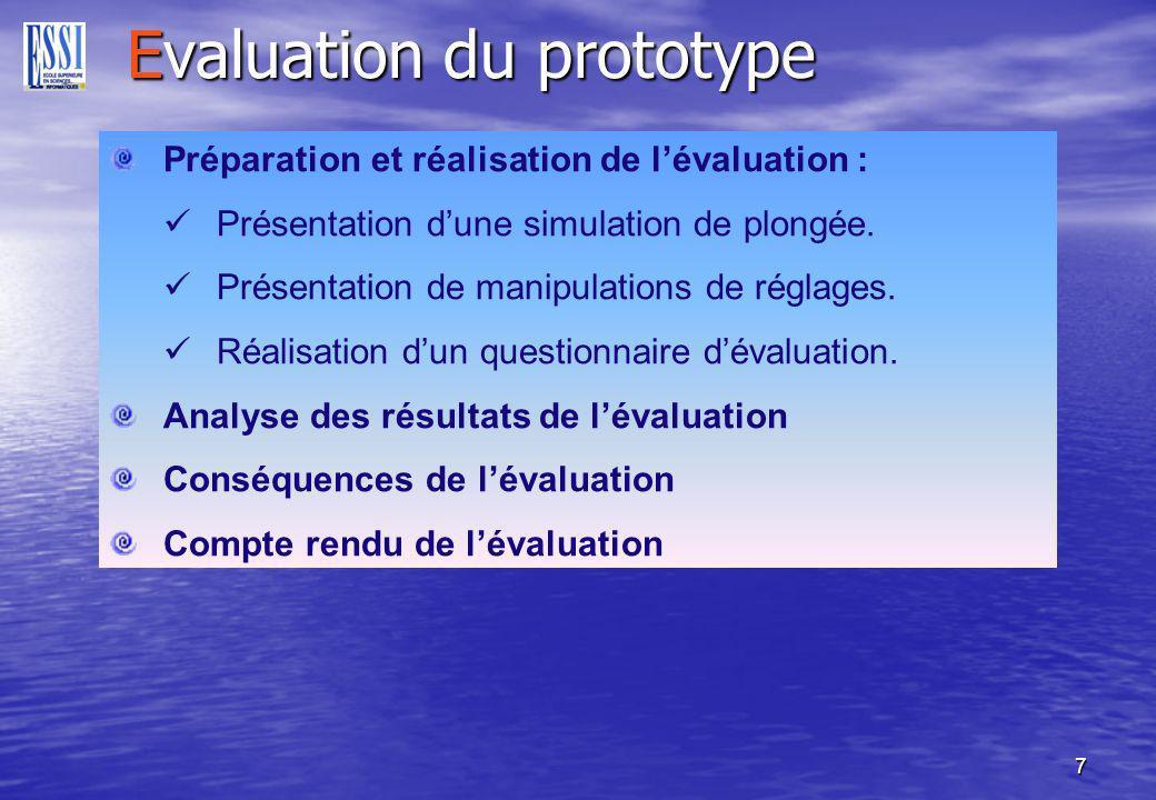 7 Evaluation du prototype Préparation et réalisation de lévaluation : Présentation dune simulation de plongée.