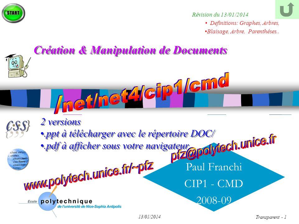 Paul Franchi CIP1 - CMD 2008-09 13/01/2014 Transparent - 22 Chap II - HTML Balisage Texte & Style Lien Liste Table Image Cadre Forme Création & Manipulation de Documents