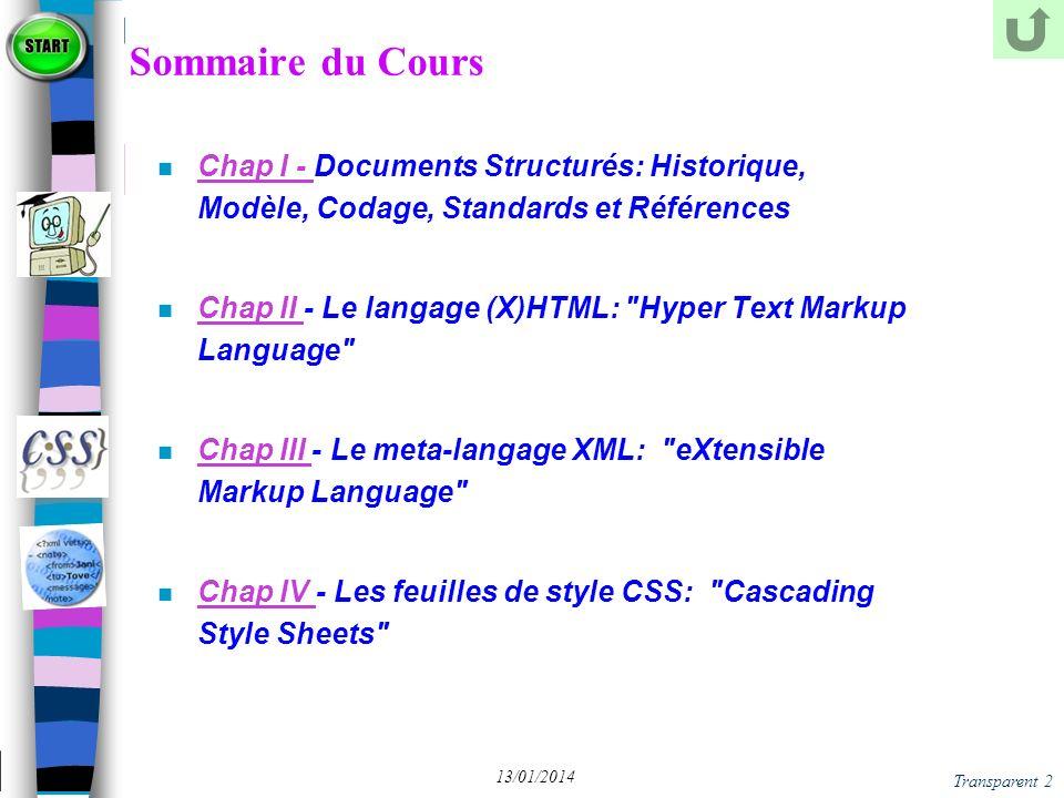 Transparent 103 13/01/2014 Ilot XML dans HTML
